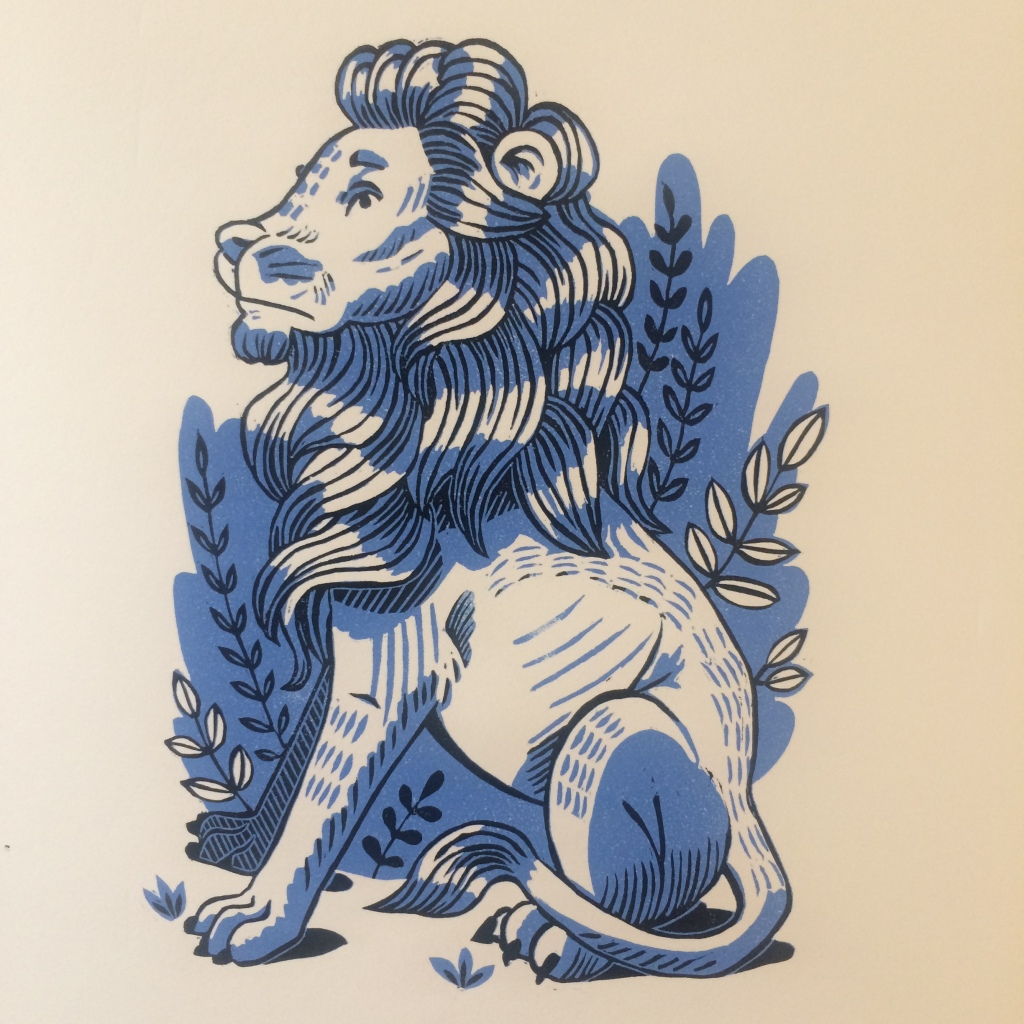 A two colour reduction print of Fred the Lion