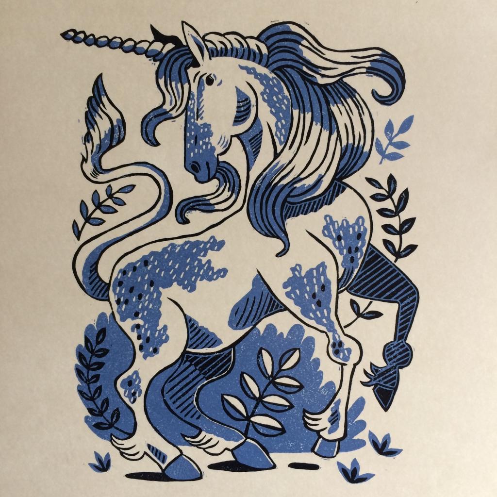 A Two Colour reduction linoprint of Mizzen the Unicorn