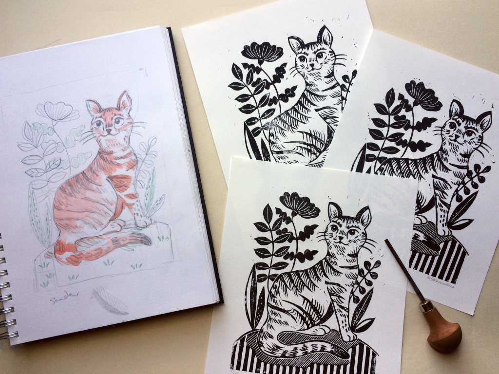 Tabby cat print and sketch