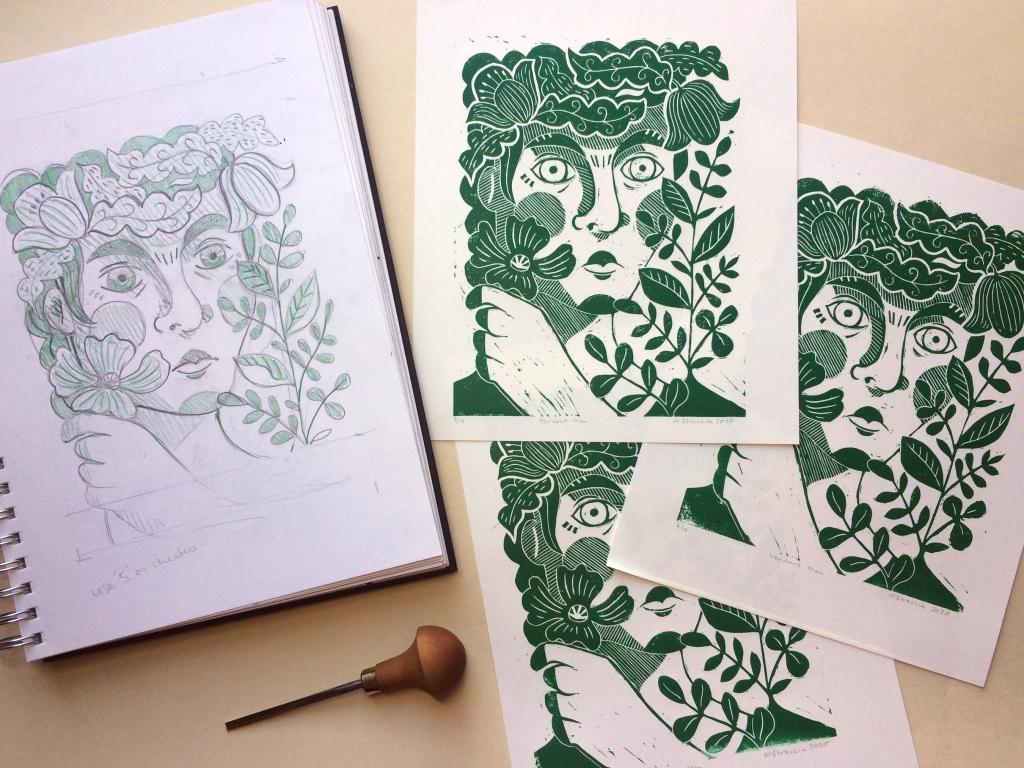 Green Man prints and sketch